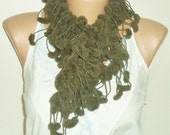 Pom pom scarf, Womens scarf, Pompom scarf, Womens scarves, Green Scarf for women, Crochet scarf, Fall scarf, Womens gift under 15 dollar