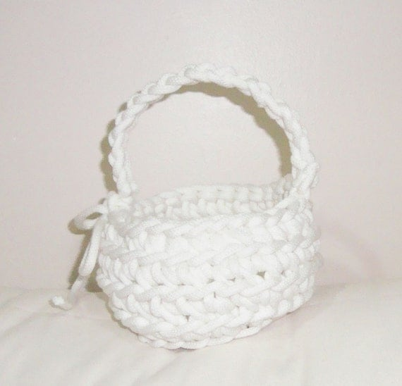 Crochet Rope Basket : CROCHET ROPE BASKET in White for Wedding or Easter White Basket