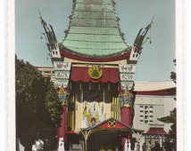 Grauman's Chinese Theater Hollywood California Color Tinted RPPC postcard