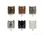 Adjustable Filigree Floral Ring Base without Pad 6 color options....TOP QUALITY..Extra Wide 21mm..... Set of 4