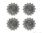 Set of 4.... Antique Silver Base Metal STAR Circle ....Connector..Cameo...Cab.......Frame Settings...Circle round 12mm  23mm