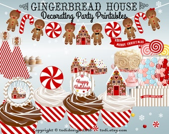 Gingerbread House Decorating Party Printables PERSONALISED