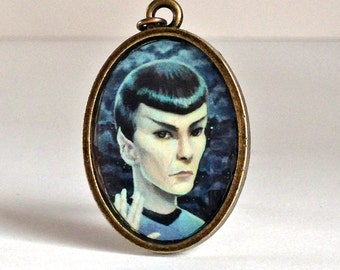 Last THREE Mr. Spock - Live Long and Prosper special edition Star Trek printed cameo necklace by Mab Graves