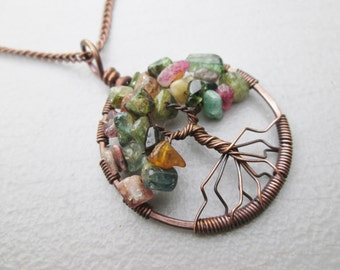 Tourmaline Tree of Life Pendant in Sterling Silver, Copper, Oxidized Copper or Brass Choose Chain or Leather Cord comes in a gift pouch