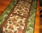 Quilted Table Runner, Pine Cone Tablerunner, Rustic Cabin Mountain Decor, Reversible Runner, Handmade Table Runner, Pine Cone Cabin Decor