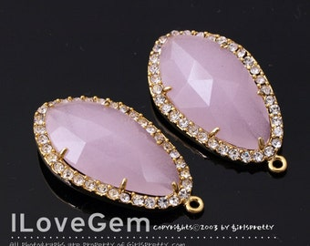 NP-1487 Gold plated, Pink, Glass, Pendant, 2pcs