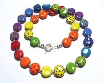 Kazuri Bead Necklace, Fair Trade Beads, Ceramic Necklace