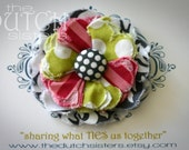 Dots and Stripes... Blossoming Fabric Flower Hairclip