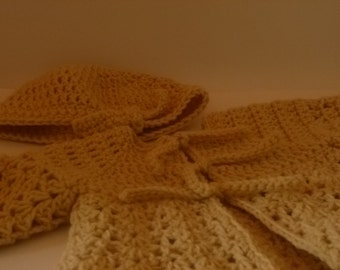 It's a Girl ! Baby Shower Gift Set, Light Brown Sweater and Hat