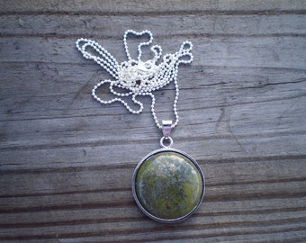 Green Jasper Pendant Necklace