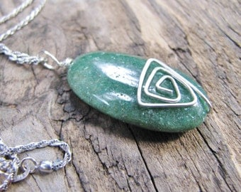 Green Aventurine, Sterling Silver Pendant, Necklace