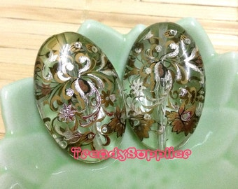 2 pcs, Japanese Classic Silver Foil Floral Pattern Clear Oval Tensha Bead