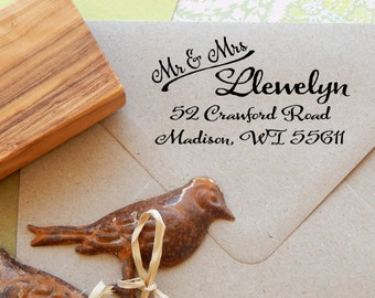 Mr and Mrs Handwritten Font Return Address Olive Wood Stamp