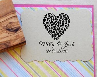 Custom  Mosaic Heart Olive Wood Stamp