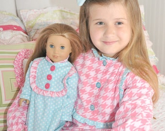 "Girls PDF Sewing Pattern - Claire Pajamas - Nightgown, Top, Pants, 18"" Doll Pattern, Size 6 Month - 10 Years by The Cottage Mama"