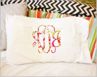 Monogrammed pillow case, lilly inspired monogram
