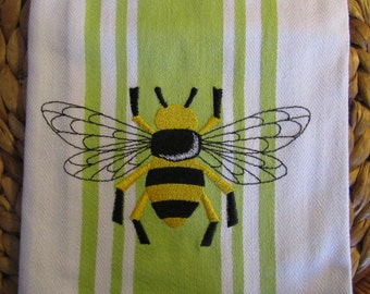 Whim - Center Band - Napoleonic Bumble Bee - Cotton 20x30 Designer Kitchen Hand Towel