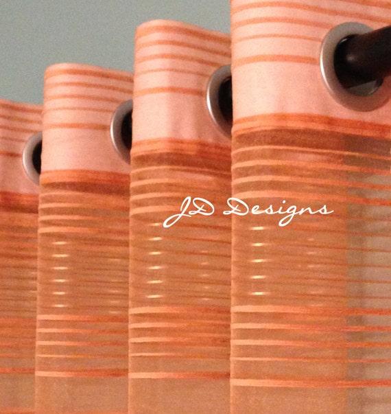 Extra Long Shower Curtain 112x91 Orange Stripe Sheer JD