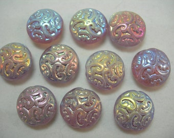 10 Lovely Czech Glass Button BEADS 14mm Lilac AB