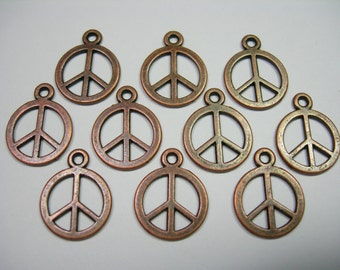 Antiqued Copper plated Peace Sign Drops, Charms - 15mm - 10 pieces