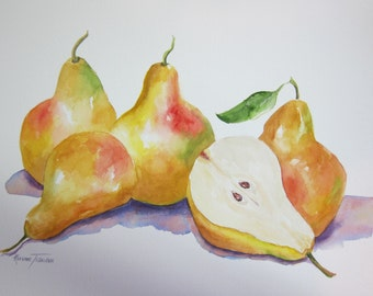 Vegetable, Fruits Pears or Cantaloupe Original Watercolor 11 x 15 paintings 2 Choices Pick one watercolorsNmore