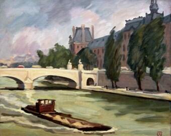 Le Seine a Paris with Louvre, Large Impressionist Oil Painting Landscape on Canvas, Signed Original 20x24 Realist Fine Art