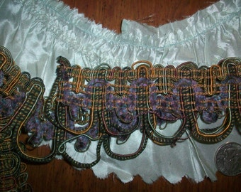 1 yard of an antique french metal trim with silk chenille multi colored