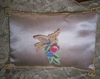 1 Antique hand loomed applique of birds and roses never used