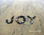 Beach Theme JOY Sentiment Photo - 5x7 with Mat, upbeat word photo print, beach stone word, home decor, JOY beach wish, coastal photo art