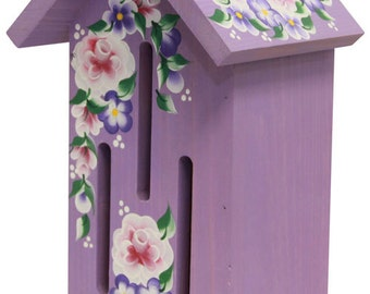 Purple Butterfly House with Hand Painted Roses