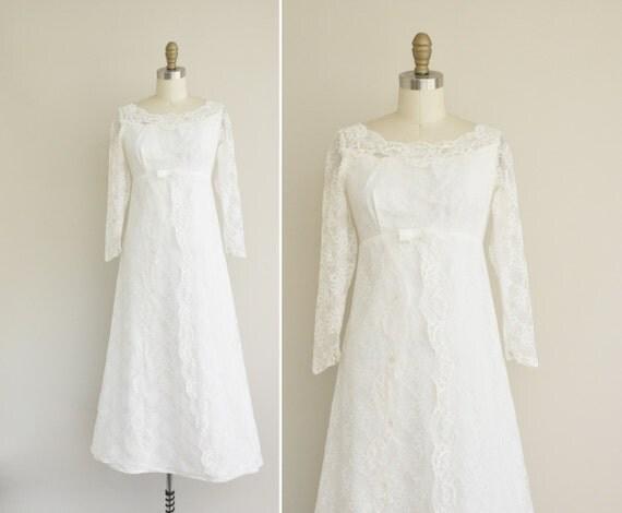 Vintage 1960s Wedding Dress / 60s Empire Waist Dress / 1960s