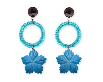Turquoise Hoop Earrings, Metal Flower Hoop Earrings, Dangle Light Weight Earrings