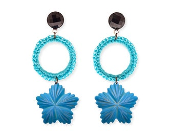 Turquoise Earrings Metal Flower Light Weight long blue Summer Earrings