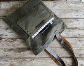 Large Reader in Moss, Waxed Canvas Tote Bag, Shoulder Bag, Handbag, Purse, Book Bag, Small bag, Minimal, Book Bag, Leather, Waxed Canvas