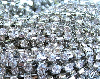 3 feet Clear 3mm 12SS Rhinestone gold or silver tone Rhodium color plated brass chain trim - middle east stone - 36 inches