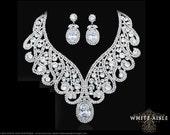 Wedding Jewelry Set, Crystal Necklace, Bridal Statement Necklace Earring Set, Bridal Jewelry Set, Vintage Style, Hollywood Glamour Necklace