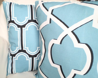 SALE Decorative Throw Pillows Cushion Cover Regatta Blue Off White Fargo Morrow Couch Bed Pillow Covers Throw Pillow Set of 2 Various Sizes