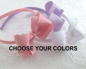Toddler ~ Girls Boutique Bow Headband Set / Hard Plastic Headband with Bow