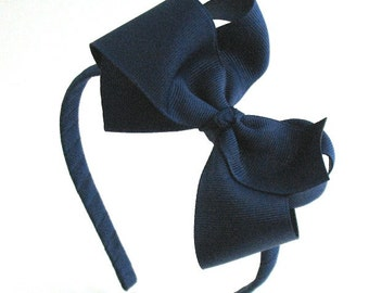 School Uniform Navy Blue Bow Headband For Girls, Light Navy Bow Hard Headband, Back to School, Preppy Hair Bow, Big Girl Headband