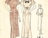 """Vintage 1930s Dress Pattern - Advance 1477 - Missed' One Piece Day Dress in Two Variations - Bust 42"""""""