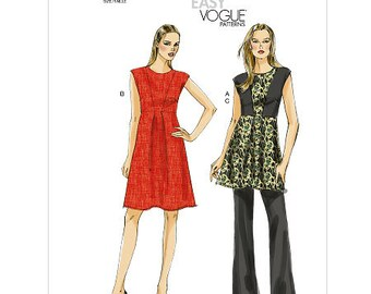 Sz 6/8/10/12/14 Vogue Dress Pattern V8755  - Misses' Dress, Tunic and Pants - Very Easy Vogue
