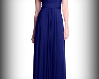 Convertible/Infinity Dress - floor length with long straps Made to measure dresses in navy blue color
