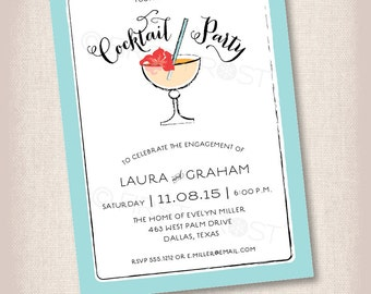 Printable Cocktail Party Invitation -  Engagement Party, Birthday, Retirement, Shower