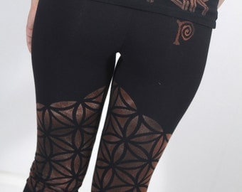 Sacred Geometry,Flower Of Life,Bella Women's,Cotton Spandex, Capri Fit,Printed Leggings,Yoga Pants