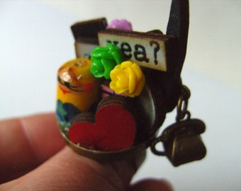 The MOST WhimsicaL, Ring, wood, wooden, letters, cyber, Russian doll, mini world, roses,by NewellsJewels