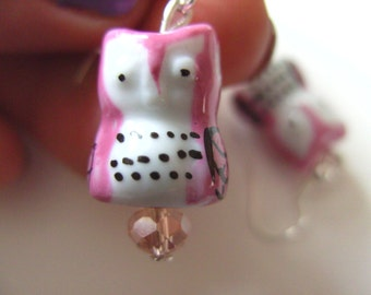 Ceramic OWL, earrings, choose colour, pink, purple, pink green and blue, by NewellsJewels on etsy