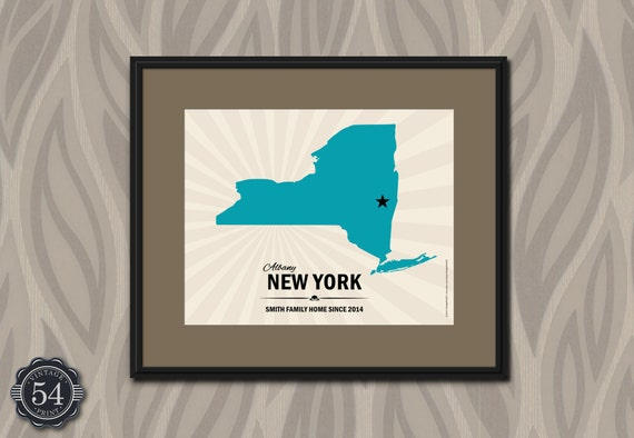 Unique Wedding Gifts Nyc : CUSTOM NEW YORK Map of New York Personalized Wedding Gift New York ...
