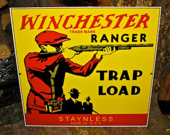 Winchester Ranger Trap Load Ammo / Bullet / Cartridge / Advertising Sign / Heavy Metal Sign
