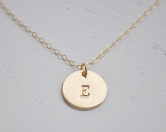 Gold Disc Initial Necklace 1/2 inch - gold filled round personalized charm hand stamped letter pendant gift for mom simple everyday jewelry