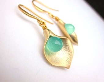 Mint crystal teardrop with matte lily flower earrings with golden hook- Free US shipping